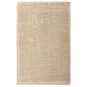 Virginia Argus, Rare 1804 Newspaper Featuring Advertisement for Slavery Auction at the Raleigh Tavern, Williamsburg