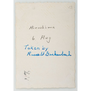 WWII Archive of Russell E. Gackenbach, Navigator of Necessary Evil, Incl. Camera and Photograph of the Bombing of Hiroshima