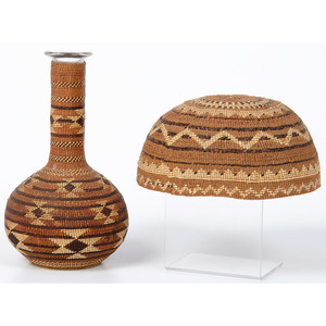 Northern California Basketry Wrapped Decanter and Hat, Deaccessioned From the Hopewell Museum, Hopewell, NJ