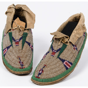 Cheyenne Beaded Buffalo Hide Moccasins, Deaccessioned From the Hopewell Museum, Hopewell, NJ