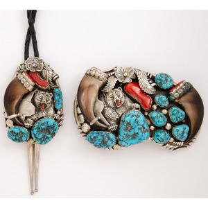 Silver Bear Bolo Tie and Belt Buckle with Turquoise, Coral, and Claws