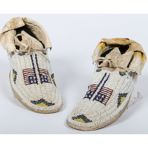 Cheyenne Beaded Hide Moccasins, Deaccessioned From the Hopewell Museum, Hopewell, NJ