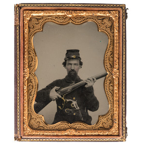 Civil War Quarter Plate Ambrotype of a Well-Armed Confederate Soldier, by G.S. Cook, Charleston, SC