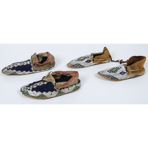 Cheyenne and Sioux Beaded Hide Moccasins, Deaccessioned From the Hopewell Museum, Hopewell, NJ