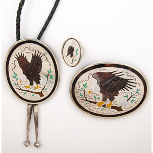 Zuni Silver and Channel Inlay Eagle Bolo Tie, Buckle, and Ring