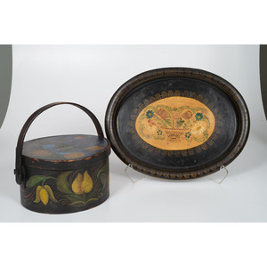 American Painted Box and Tole Tray with Painted Decorations