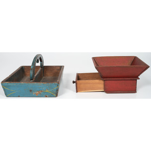 Painted Apple Box and Cutlery Tray