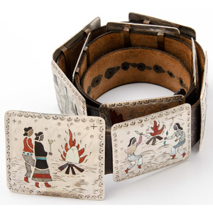 Raymond Becenti (Dine, 20th century) Navajo Silver and Channel Inlay Story Teller Concha Belt