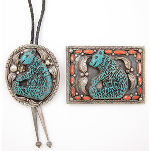 Silver Belt Buckle and Bolo Tie with Coral and Carved Turquoise Bear