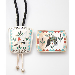 Sammy and Esther Guardian (Zuni, 20th century) Silver and Channel Inlay Mallard Duck Bolo Tie and Belt Buckle