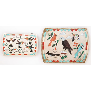 Sammy and Esther Guardian (Zuni, 20th century) Silver and Channel Inlaid Bird Belt Buckles