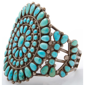 Zuni Silver and Turquoise Cluster Cuff Bracelet
