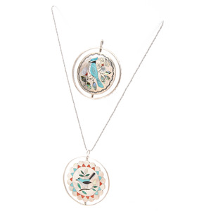Zuni Silver Spinner Pendants with Channel Inlay Birds