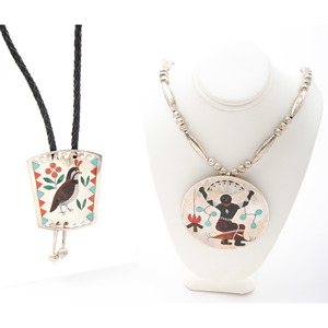 Sammy and Esther Guardian (Zuni, 20th century) Silver and Channel Inlaid Necklace and Bolo Tie