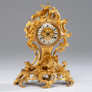 Rococo-style Gilt Metal Mantel Clock