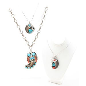 Atkinson Trading Co. Silver Turquoise, Coral, and Claw Necklace PLUS