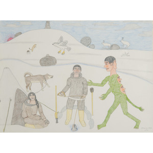 Nancy Pukingrnak Aupaluktuk (Inuit, b. 1940) Crayon on Paper