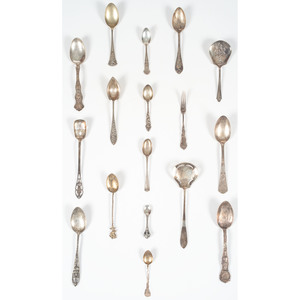 Sterling Silver and Silverplated Spoons, Including Souvenir Spoons