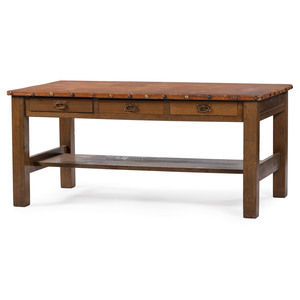 Leather Surface Library Table, Attributed to Gustav Stickley