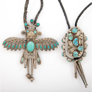 Mexican and Southwestern Silver and Turquoise Bolo Ties