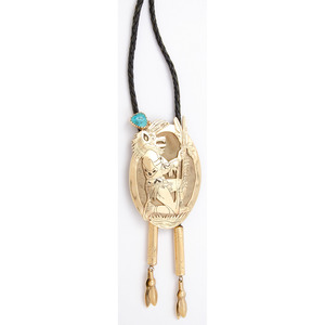 Carlos White Eagle (Apache, 1937-2013) 14k Gold and Turquoise Bolo Tie