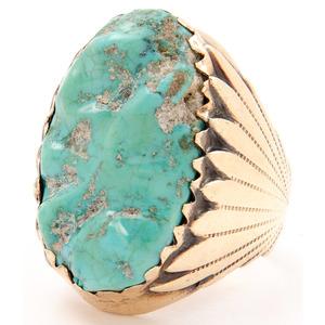 Robert and Bernice Leekya (Zuni, 20th century) 14k Gold and Turquoise Ring