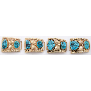 Navajo 14k Gold and Turquoise Watch Bands