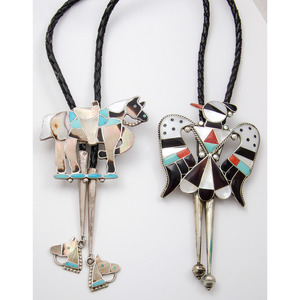 Nora Leekity (Zuni, Active 1940s-1970s) Turquoise and Shell Inlay Horse Bolo Tie PLUS