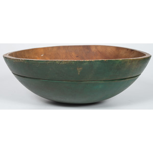 Turned Wood Mixing Bowl in Green Paint