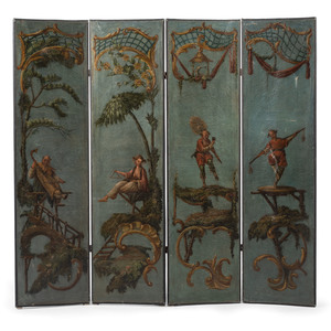 Folding Screen with Chinoiserie Motif