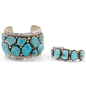 Eugene & Yvonne Mahooty (Zuni, 20th century) Silver and Turquoise Cuff Bracelet PLUS