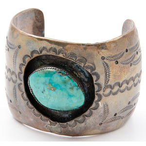 Wide Navajo Silver and Turquoise Cuff Bracelet