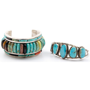 Silver Cuff Bracelet Set with Turquoise, Tigers Eye, and Jasper PLUS