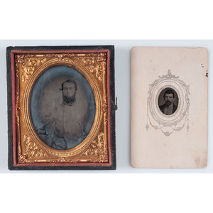 Two Confederate Images, Incl. Sixth Plate Ambrotype of Pvt. Charles Peebles, 41st Virginia Infantry, and Tintype of Pvt. A.D. Carroll, 3rd Mississippi Cavalry