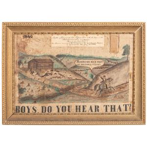 Exceptional William Henry Harrison 1840 Great Harrison BBQ Folk Art Campaign Banner