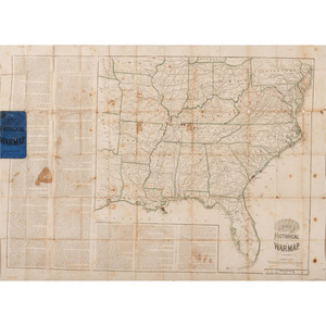 Asher's Historical War Map, 1862, with 100th Indiana History, Incl. Inked-In Troop Movements and Letter