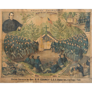 Scarce Civil War Chromolithograph Atlanta Campaign, Army of the Cumberland, Divine Service by Rev. P.P. Cooney