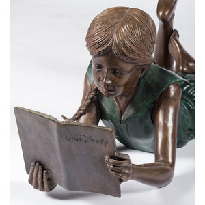Bronze of a Girl Reading