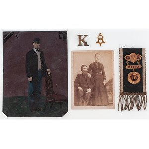 Sergeant James D. Trimble, Ohio 48th Volunteers, Full Plate Tintype, Post-War Cabinet Card, Ribbon, and Badge