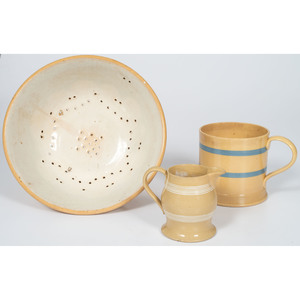 Yellowware Colander, Mug and Pitcher
