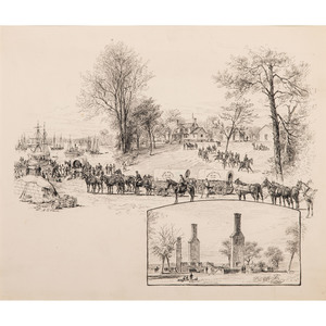 The White House - Before and After the Fire, Pen and Ink Sketch by Alfred R. Waud