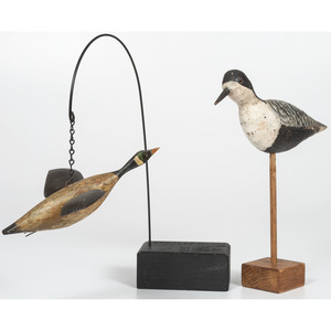 Carved Shorebird and Goose