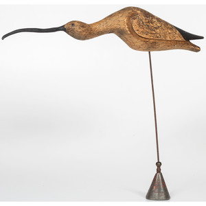 Folk Art Carved Wooden Curlew by Wayne Ayers