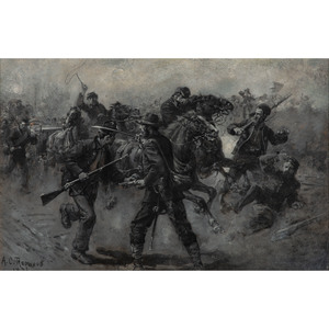 Stampede of the 11th Corps on the Plank Road, Oil Painting by Allen C. Redwood, 1886