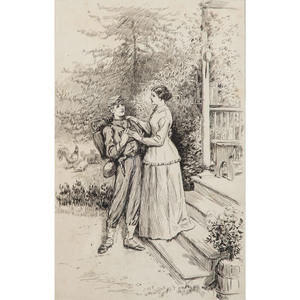 William Ludwell Sheppard, Pen and Ink Sketch Depicting a Mother Bidding Farewell to her Young Soldier