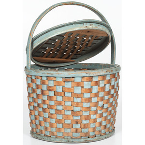 Blue Painted Lidded Basket