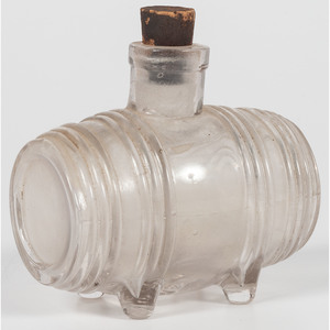 French Glass Barrel Inkwell