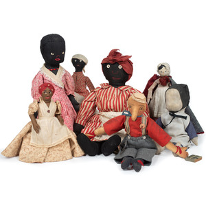 Collection of Cloth Dolls and Wooden Doll, Including Pinocchio