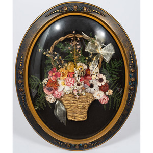 Framed Textile and Dried Floral Arrangement