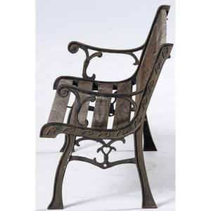Wrought Iron and Wooden Child's Bench